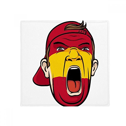 Spain Flag Facial Makeup Mask Screaming Cap Anti-slip Floor Pet Mat Square Home Kitchen Door 80cm Gift by DIYthinker