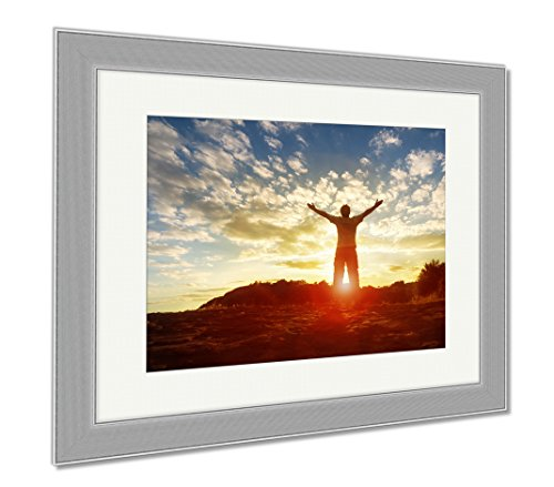 Ashley Canvas Silhouette Of A Man With Hands Raised In The Sunset Concept For Religion, Wall Art Home Decoration, Color, 30x35 (frame size), Silver Frame, AG4916599 by Ashley Canvas