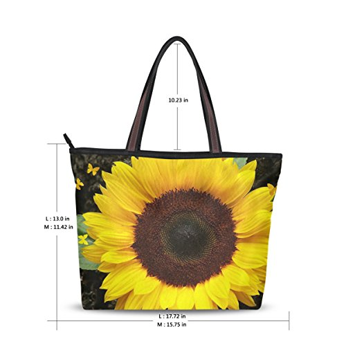 Women Large Tote Top Handle Shoulder Bags Sunflowers Ladies Handbag M