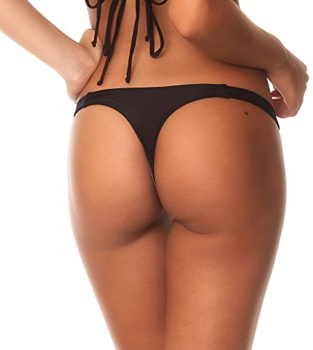 Coqueta Sexy Teeny Mini Brazilian Bikini Thong Swimsuit Bottom Swimwear BLACK-MEDIUM
