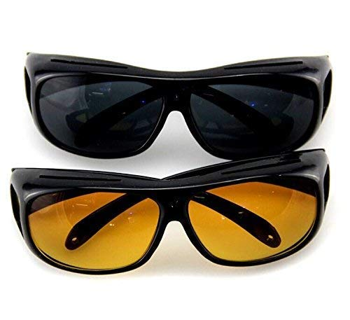 HaRvic Best Night Vision Set of 2 Glasses for Night Driving HD Goggles Night Vision Driver Glasses - Polarized Risk Reducing | Anti-Glare Driver Eyewear Sport Sunglasses for Men and Woman -Black (B07S8CTVWD) Amazon Price History, Amazon Price Tracker