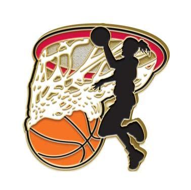 Crown Awards Basketball Pin 1.25 Women and Girls Jump Shot Basketball Enamel Lapel Pin Prime