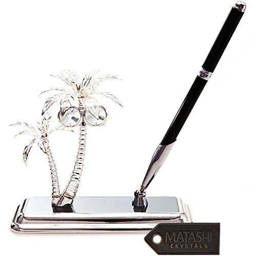 silver-plated-executive-desk-set-with-crystal-topped-pen-and-silver-palm-trees-ornament-by-matashi