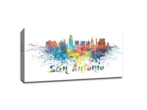 San Antonio - Vivid Watercolor Skylines - 24x13 Gallery Wrapped Canvas Wall Art