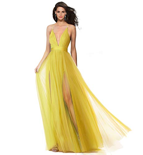 Cross Prom Front Dress Yellow Straps Formal Neckline Evening Dual Slits Criss Tulle Alluring Back v Spaghetti Open deep qwYPYB6g