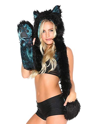 iHeartRaves Panther Animal Hood, Hat, Scarf and Paw Mittens Furry Hoodie (Electric Galaxy)