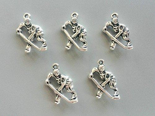 Hockey Player Charm - FHNP367 - Metal Ice Hockey Charms Antique Silver Tone Pendants Hockey Player Charms Metal Pendants 3D Beads 25x16mm - 5 Pcs