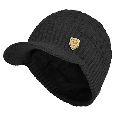 Sports Winter Outdoor Knit Visor Hat Billed Beanie with Brim Warm Fleece Lined for Men and Women (Black)
