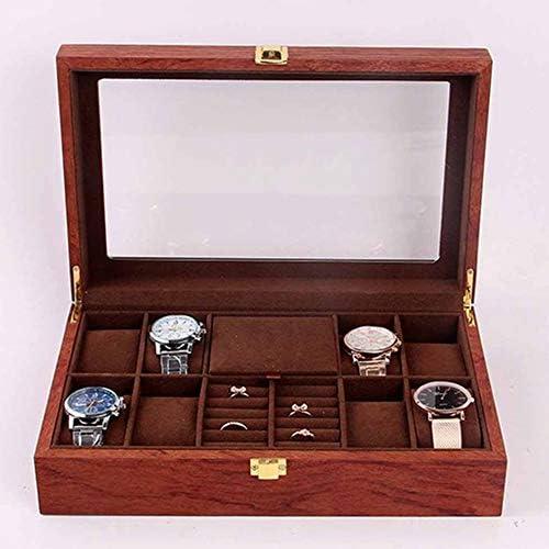 LIHUU Scatola di immagazzinaggio dell\'orologio dello scaffale di stoccaggio della Raccolta dei Gioielli della vetrina dell\'orologio di griglia di Legno