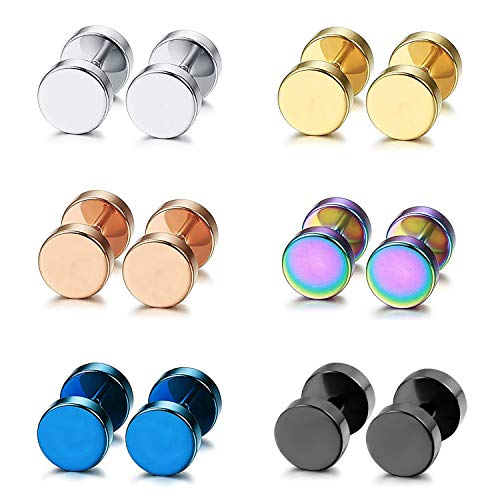 Aroncent 6 Pairs Stainless Steel Mens Womens Stud Earrings Ear Plugs Tunnel Punk ()