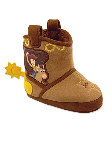 Toy Story Woody Boys Toddler Costume Cowboy Boot Slippers (11-12 M US Little Kid, Brown/Yellow) (Boys Boot Spurs)