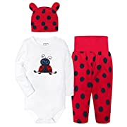 HONGLIN Baby Boys Girls 3 Piece Set with Beetle Longsleeve Bodysuit Hat and Printed Dot Pant Gift Set