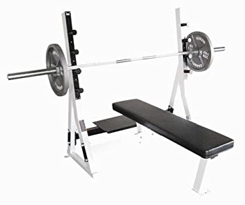 Commercial Flat Bench Spotter Stand and Weights not included