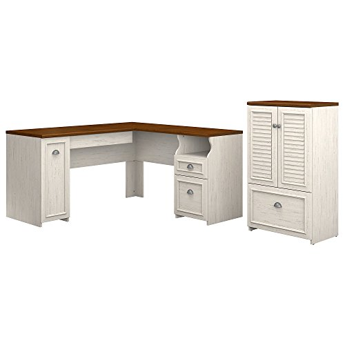 Fairview Collection Bush - Bush Furniture Fairview 60W L Shaped Desk and Storage Cabinet with Drawer in Antique White and Tea Maple