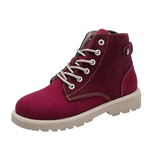 le Fashion Women Round Head Lace-up Martin Boots - Women Flat Leisure Outdoor Shoes(US:5.5, Red) (Duck Head Shoes)