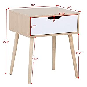 Yaheetech White/Brown Walnut Side End Table Nightstand with Storage Drawer Solid Wood Legs Living Room Furniture 22.6''H by Yaheetech
