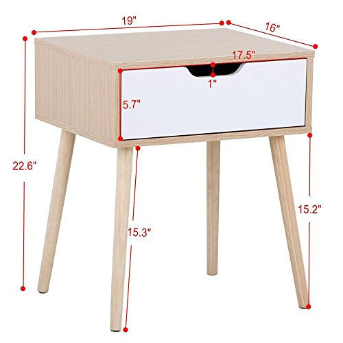 Topeakmart Walnut Bedside Table Solid Wood Legs Nightstand with White Storage Drawer by Topeakmart (Image #1)
