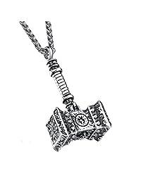 Vintage Man Necklaces Thor Hammer Stainless Steel Vintage Pendant Necklace