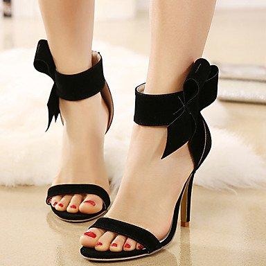 LvYuan sandalias de los zapatos del club de verano bowknot vestido de paño grueso y suave del talón de estilete Black