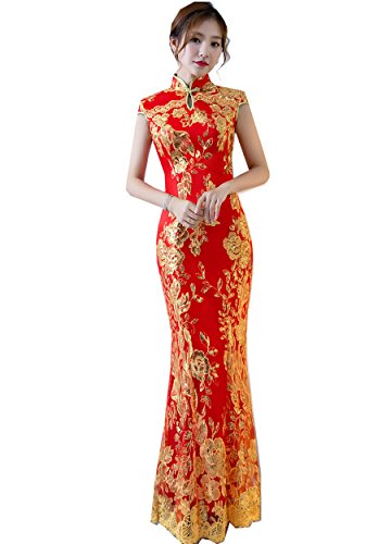 Shanghai Story Keyhole Cheongsam Lace Mermaid Sequins Qipao Dress 2 Red