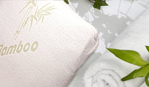 Bamboo Pillow - Shredded Memory Foam - Stay Cool Removable Cover With...