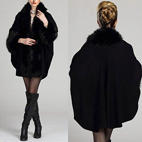 Negro Lujoso Mujeres Mantón Piel Capes Poncho Capa Abrigo imitación KAXIDY de para FPffqw