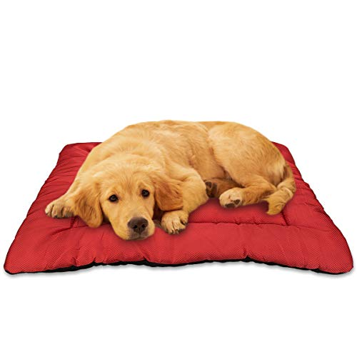 AIPERRO Dog Bed Crate Pad Washable Pet Mattress Kennel Sleeping Mat Chew Resistant Oxford Anti Slip 24/30/36/42 for Large Medium Small Dogs and Cats, Red (42-INCH)