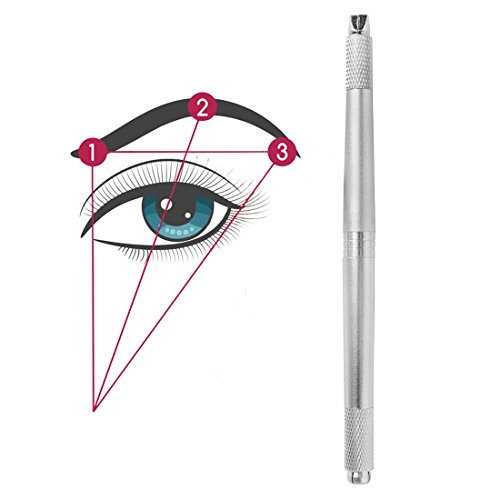 Professional Eyebrow Tattoo Manual Pen 3D Eyebrow Embroidery Microblading Pen Silver Color 3 Heads Available Suit for Curve Flat U Shape Round Microblading Needles CHFENG