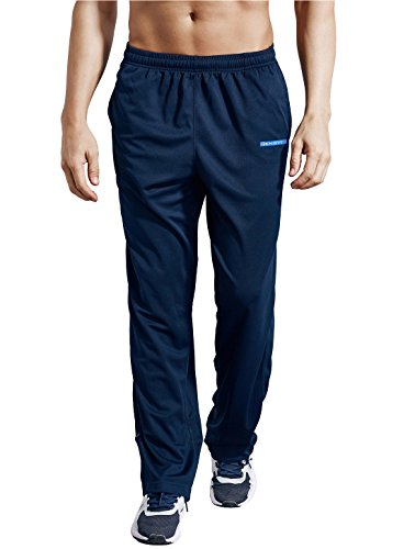 Workout Pants Athletic - Zengvee Men's Sweatpant with Pockets Open Bottom Athletic Pants for Jogging, Workout, Gym, Running, Training(0317-Navy Blue,L)
