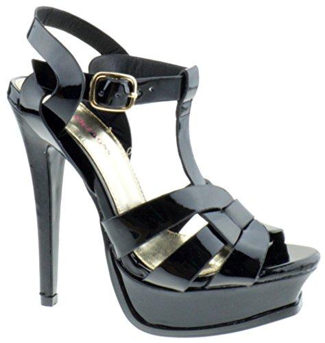 Patent Ankle Strap Platform (Shoe Dezigns Lauren 87 Womens Strappy Square Toe Patent Platform Jet Black Patent 8.5)