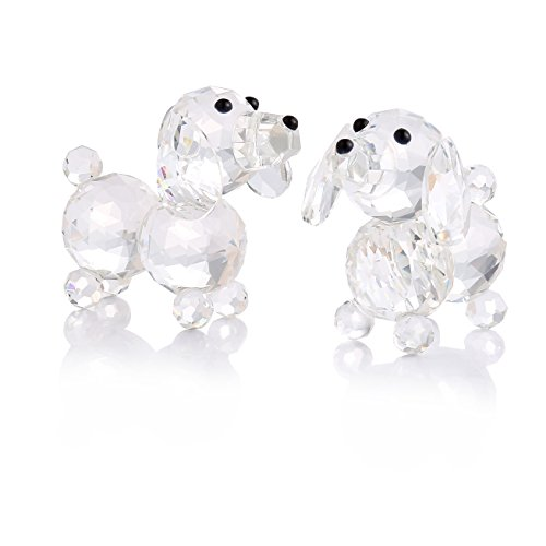 THREE FISH Crystal 2 Pcs Super Cute Crystal Dog Figurine,Collection Cut Glass Decorative Statue Animal Collection,Paperweight Home Decorations.(Clear) (Crystal Dog)