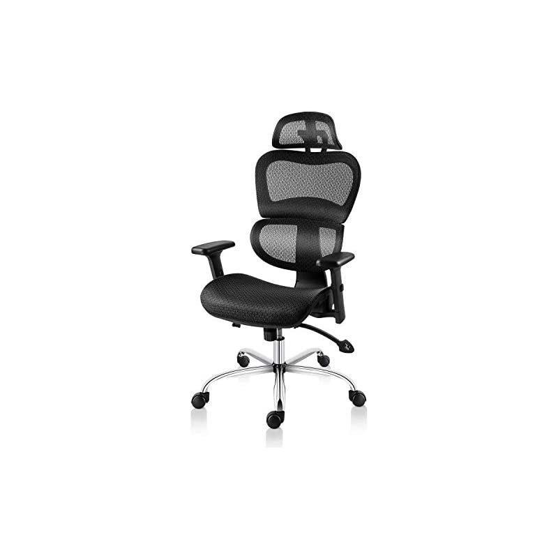 Smugdesk Office Mesh Back Task Chair with Fashionable Armrests, Black