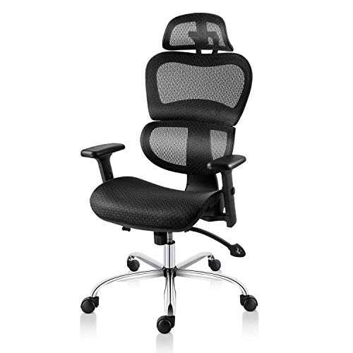 - Smugdesk Ergonomic Office Chair High Back Mesh Chairs with Lumbar Support, Adjustable Headrest and 3D Armrest Executive Swivel Chair (Black)