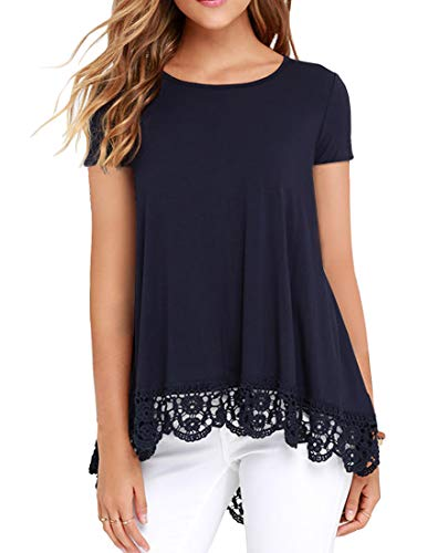 (QIXING Womens Tops Summer O-Neck T-Shirts Lace Trim Blouses Tunic Casual Short Sleeve/Long Sleeve Navy Blue-M )