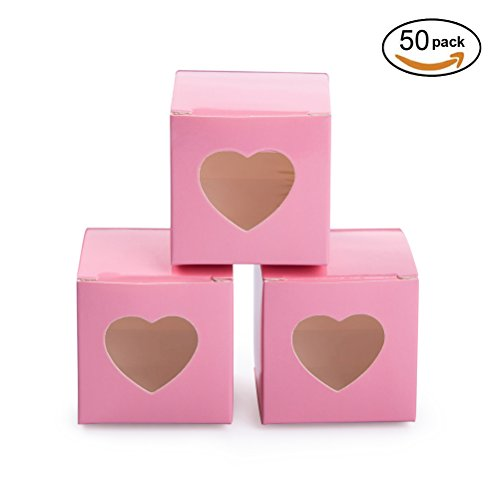 MOWO Pink Gift Boxes 2x2x2 inch with Clear Plastic Window for Candy Treat Gift Wrap Box Party Favor 50pc (Candy Heart Treat)
