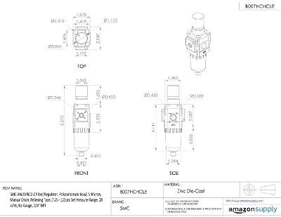 "SMC AW20-N02-Z Filter/Regulator, Polycarbonate Bowl, 5 Micron, Manual Drain, Relieving Type, 7.25 - 123 psi Set Pressure Range, 28 scfm, No Gauge, 1/4"" NPT"