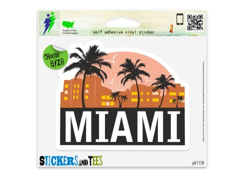 Miami City Florida Travel Vinyl Car Bumper Window Sticker 2