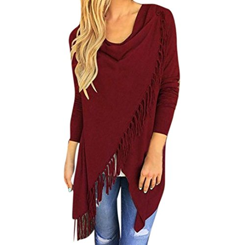 (Wintialy Women Long Sleeve Tassel Hem Crew Neck Knited Cardigan Blouse Tops Shirt Wine Red)