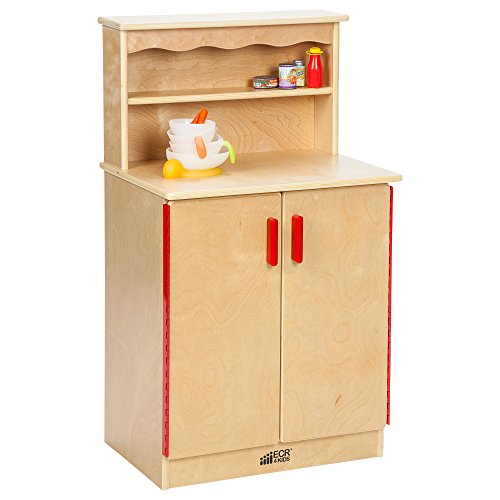 ECR4Kids Birch Pretend Play Kitchen Cupboard Playset for Daycare, Natural