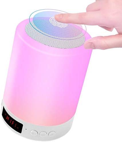 StillCool Luz Nocturna Altavoz Bluetooth, Lampara de Noche LED, Música Sensor Táctil con 7 Colores Alarma Reloj Mango y USB Recargable para Leer Acampada y Fiesta - Blanco