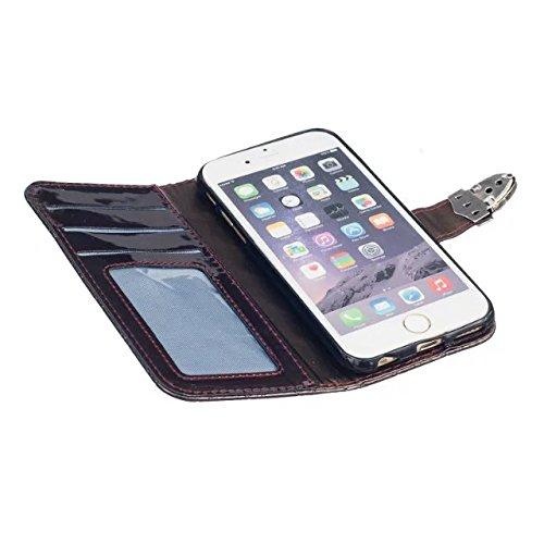 Quadrillage Motif Lattice Housse en cuir haut de gamme PU Couverture Couverture intérieure Silicone Solid Color Case Wallet Support Case avec Window Photo de iPhone 6S plus ( Color : Brown )