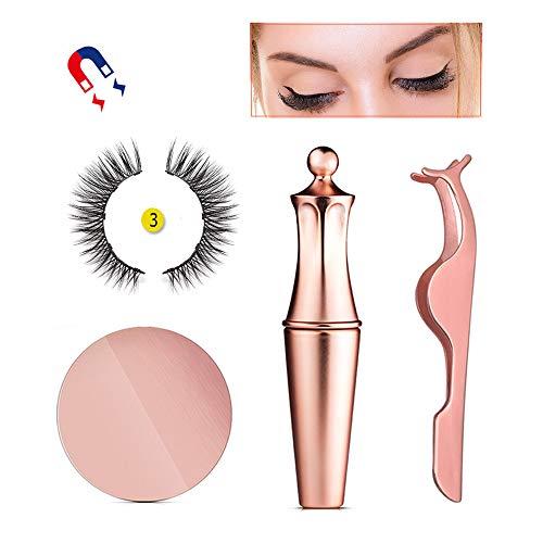 Baiwka Magnetic Eyeliner Eyelashes Kit, New Stylish Magnetic Eyeliner Set Includes Waterproof Long Lasting Eyeliner&3D Reusable 5-Magnets Eyelashes&Eyelash Tweezers
