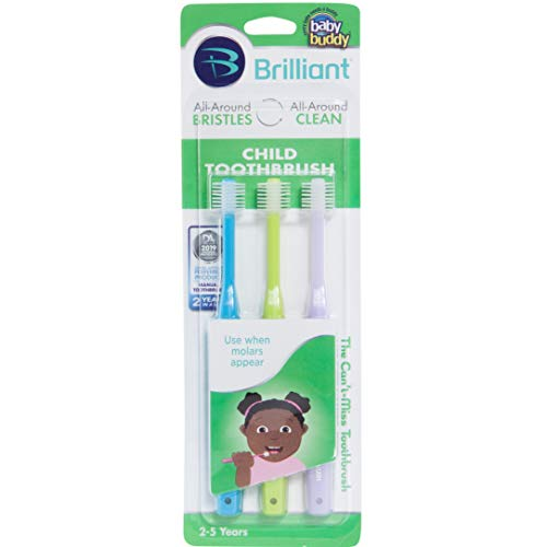 Brilliant Child Toothbrush by Baby Buddy – Ages 2-5 Years, When Molars Appear, BPA Free Super-Fine Micro Bristles Clean All-Around Mouth, Kids Love Them, 3 Count, Sky Blue-Lime-Lilac