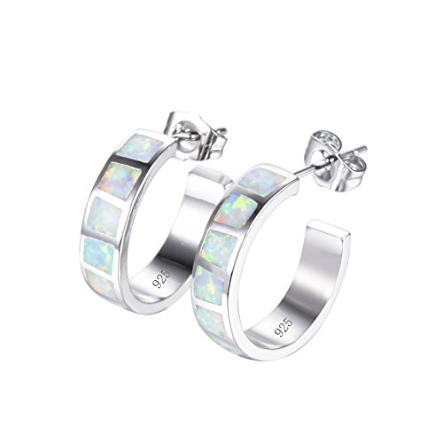 Hoop Silver Stud - RongXing Jewelry New 925 Sterling Silver Whtie Blue Laboratory Opal Party Hoop Stud Earrings White CZ Engagement Girls Birthday Stone Earrings (White Opal(11 block))