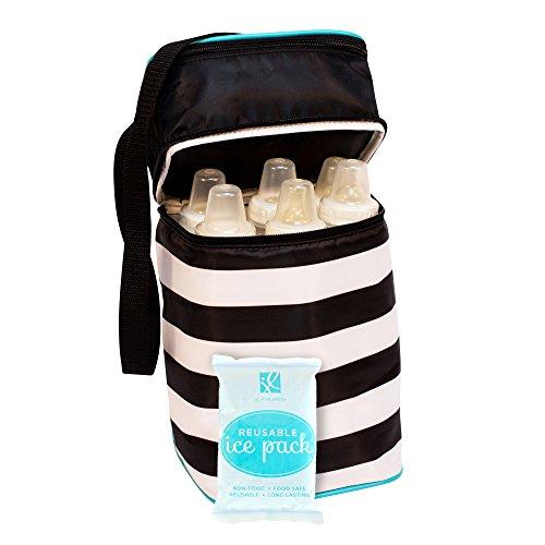 J.L. Childress 6 Bottle Cooler, Black Stripe with Teal (Cooler Baby)