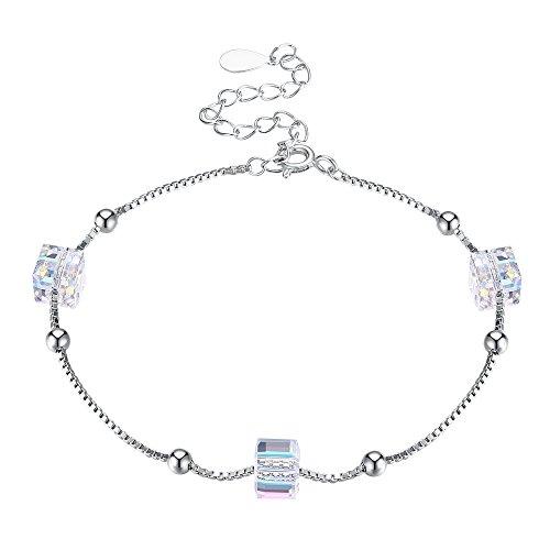 Vogzone Bracelet for Teen Girls Crystals from Swarovski 925 Sterling Silver Adjustable Stretch -