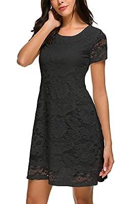 Bloggerlove Women's Lace Dress Summer Short Sleeve Elegant A Line Dress Floral Lace Cocktail Party Mini Dress