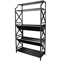 5 Shelf Metal Bookcase with 2 Shelves on a Slant(v-shape) and X Sides