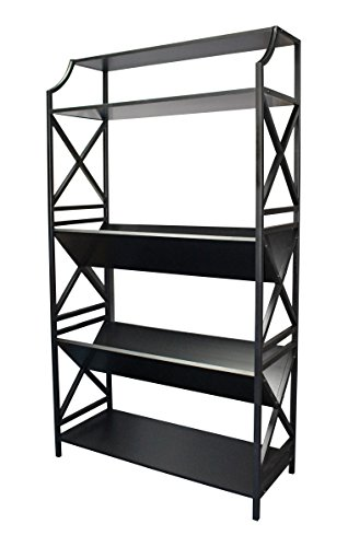 eHemco 5 Shelf Metal Bookcase with 2 Shelves on a Slant(v-Shape) and X Sides