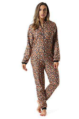 Just Love Printed Flannel Adult Onesie/Pajamas, Leopard Heart, Medium
